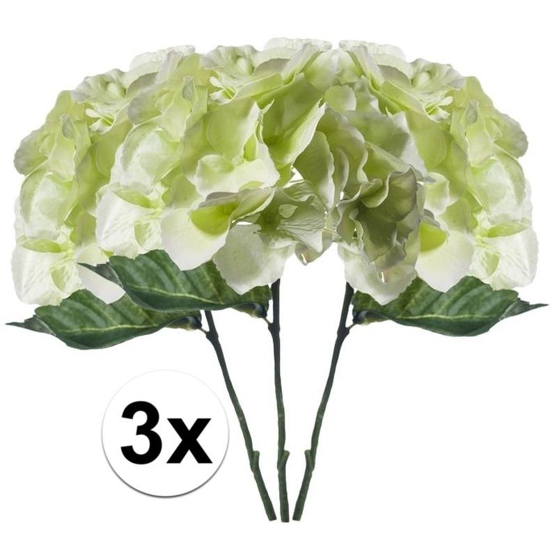 3x Wit-Groene Hortensia kunstbloemen tak 28 cm
