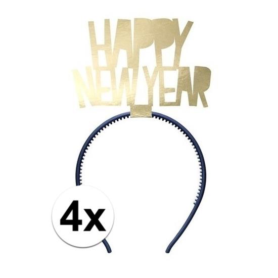 4x Happy New Year diademen voor dames oud en nieuw-nieuwjaar