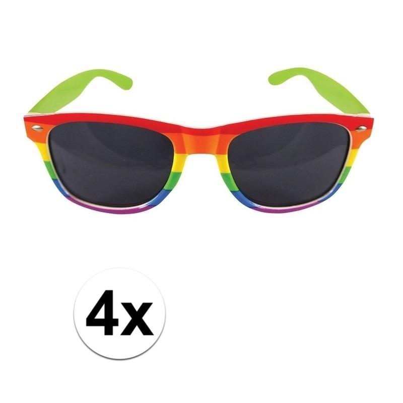 4x Regenboog feest brillen voor volwassenen