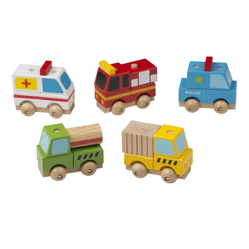 5 delige speelgoed set autos hout 9 cm