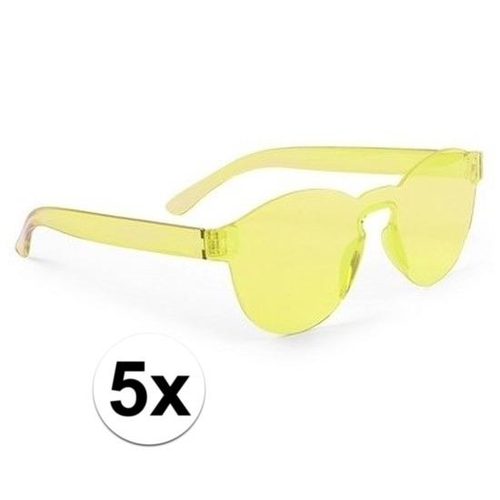 5x Gele verkleed zonnebrillen voor volwassenen