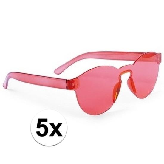 5x Rode verkleed zonnebrillen voor volwassenen
