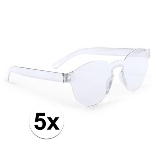 5x Transparante verkleed zonnebrillen voor volwassenen