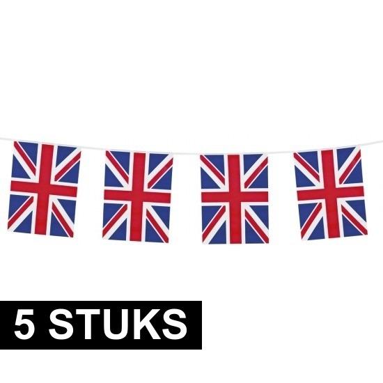 5x Union Jack vlaggenlijnen 10 meter