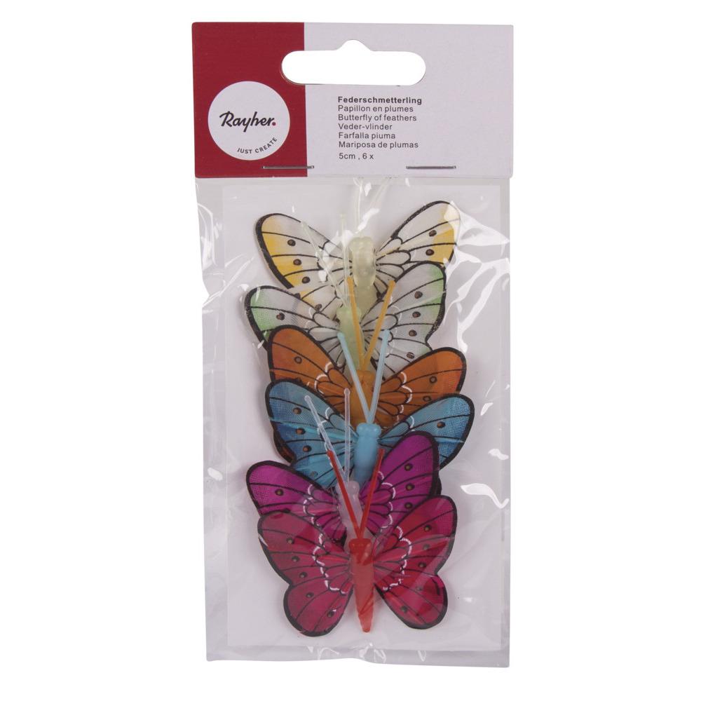 6 stuks Decoratie vlinders 5 cm