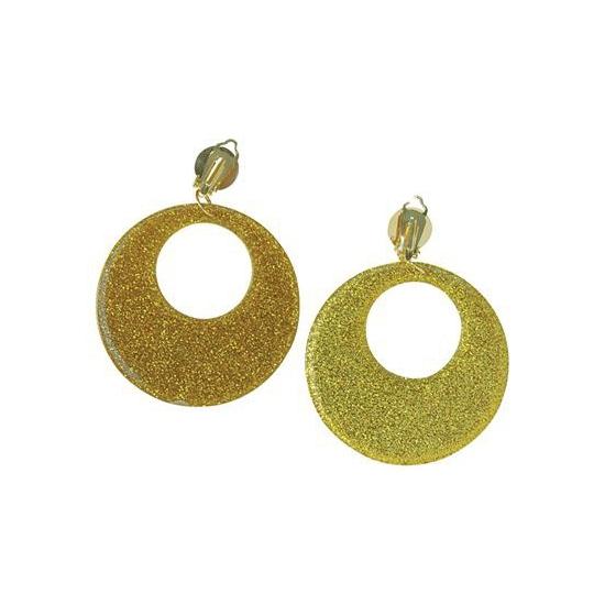 60s disco oorbellen goud glitter