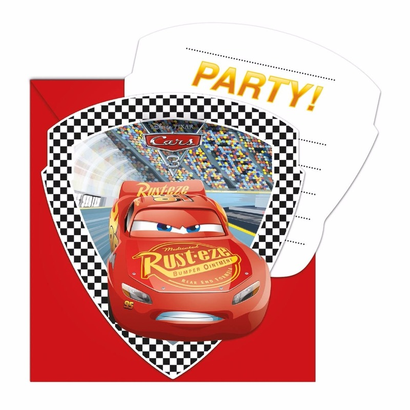 6x Cars uitnodigingen voor uw feestje.