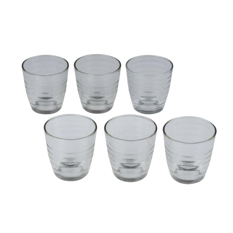 6x Drinkglazen-waterglazen transparant met ribbels 225 ml