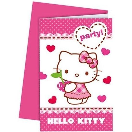 6x Hello Kitty themafeest uitnodigingen 14 cm