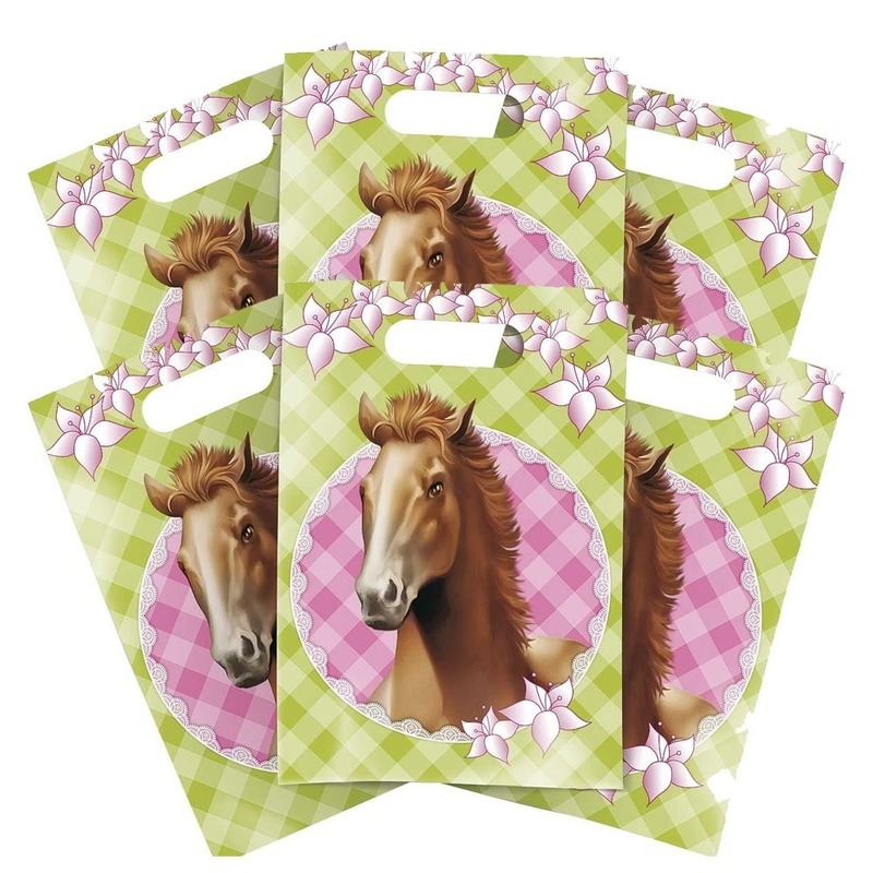 6x Paarden themafeest feestzakjes-uitdeelzakjes