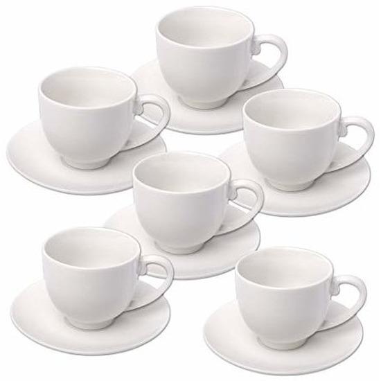 6x stuks Espresso koffiekopjes en schotels set