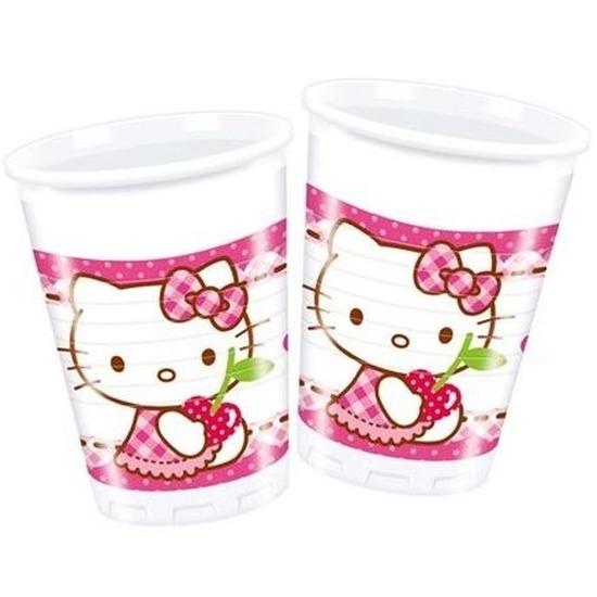 8x Hello Kitty themafeest bekertjes 200 ml