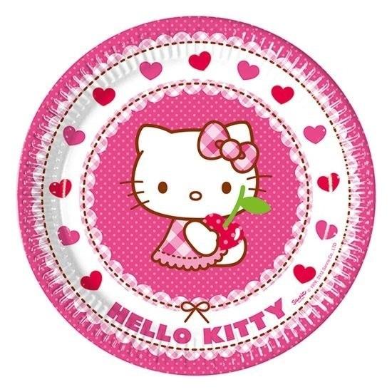 8x Hello Kitty themafeest bordjes 23 cm