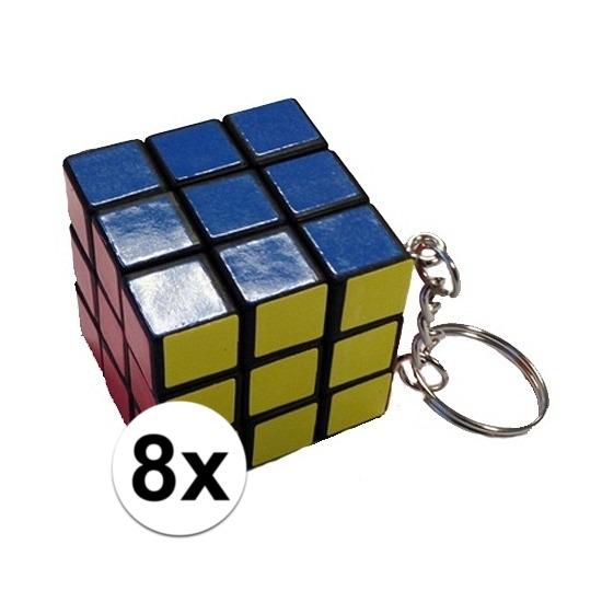 8x stuks sleutelhangers met kubus spelletjes
