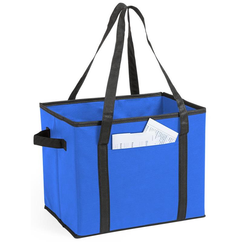 Auto kofferbak-kasten organizer tas blauw vouwbaar 34 x 28 x 25 cm