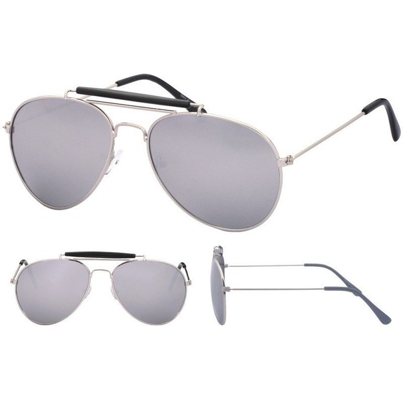 aedd448e0ccc3a Aviator zonnebril zilver met spiegel glazen voor volwassenen