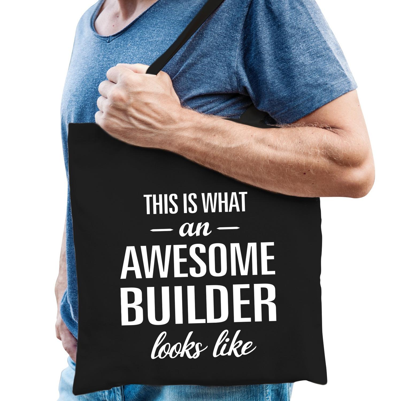 Awesome builder cadeau katoenen tas zwart voor heren