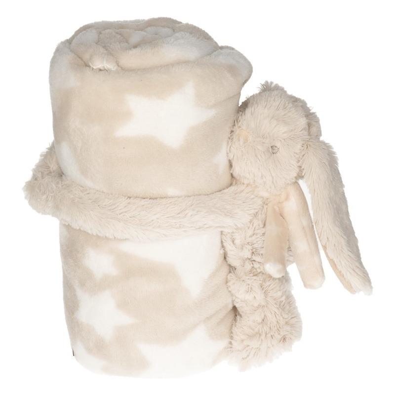 Baby-kinder beige dekentje met konijnen-hazen knuffel