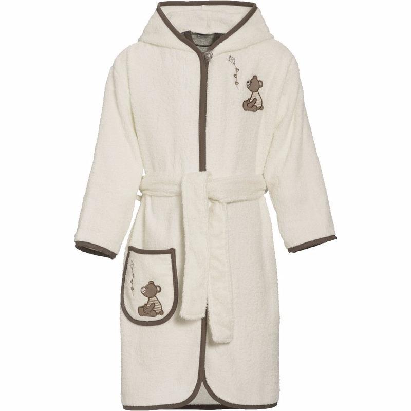 Beige badjas-ochtendjas beer borduursel voor kinderen