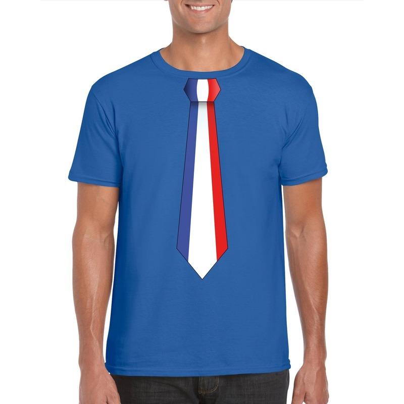 Blauw t-shirt met Frankrijk vlag stropdas heren