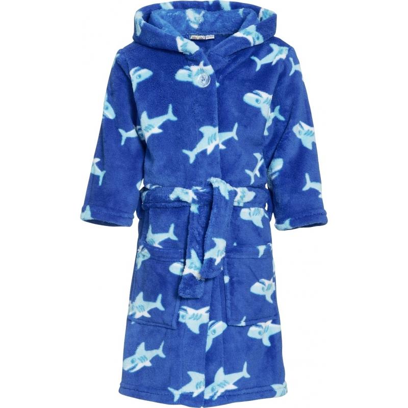 Blauwe badjas-ochtendjas haaien print voor kinderen