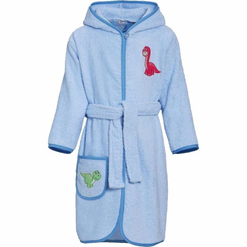 Blauwe badjas-ochtendjas met dinosaurus logo voor kinderen.