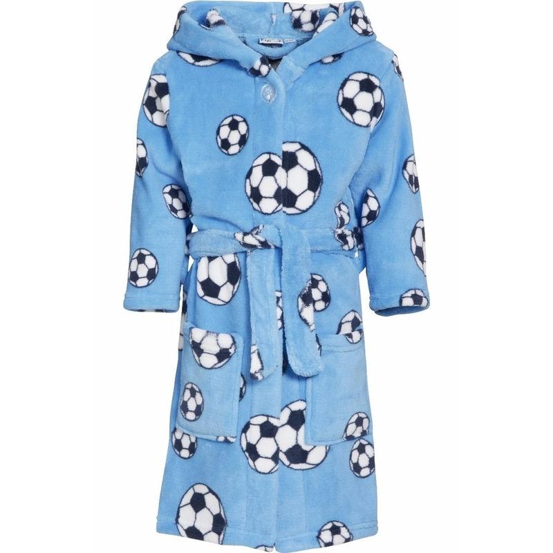 Blauwe badjas-ochtendjas met voetbal print voor kinderen.