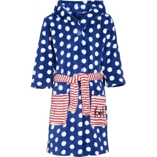 Blauwe badjas-ochtendjas met witte stippen print voor kinderen.
