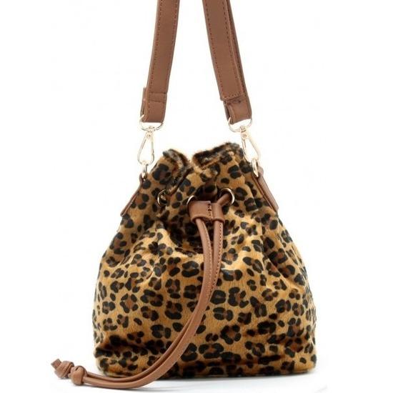 Bruin-zwart luipaardprint schoudertasje-bucket bag 30 cm