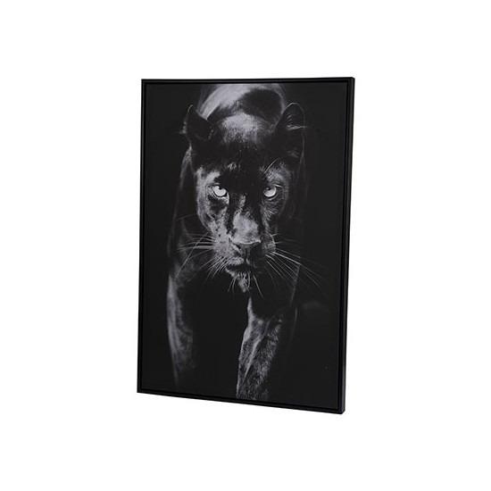 Canvas schilderij 90 x 60 cm zwarte panter print