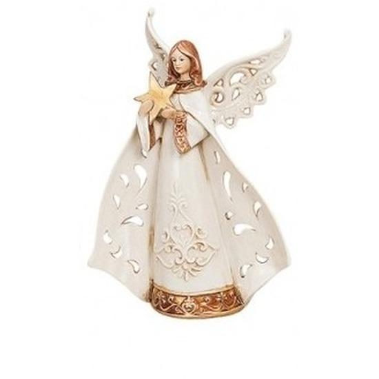 Decoratie beeldje engel met ster 20 cm