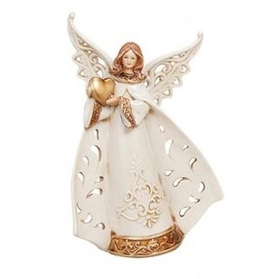 Decoratie beeldje engelen liefde-hart 20 cm