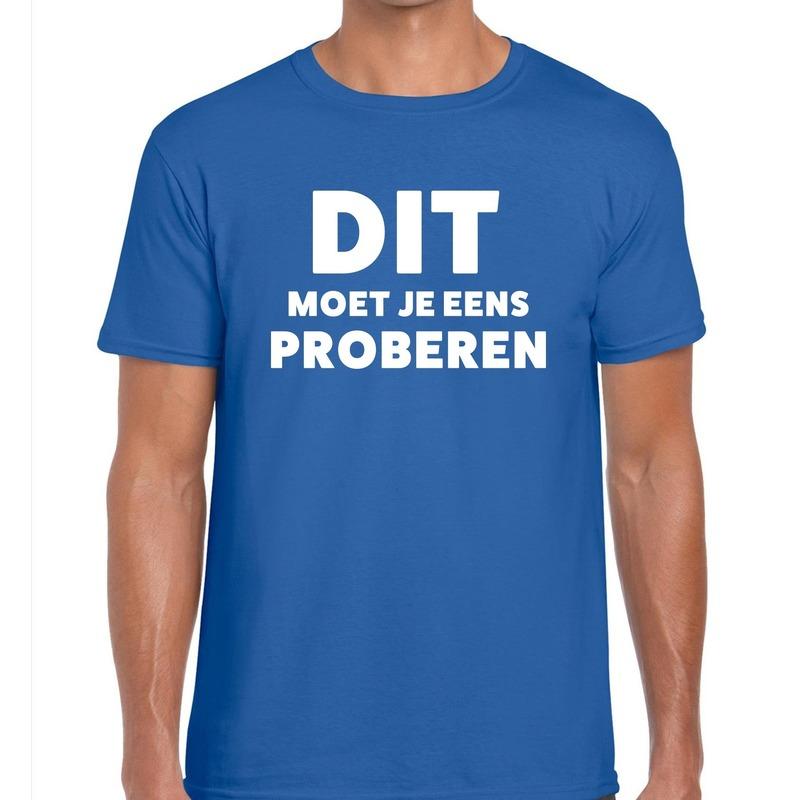 Dit moet je eens proberen beurs-evenementen t-shirt blauw heren