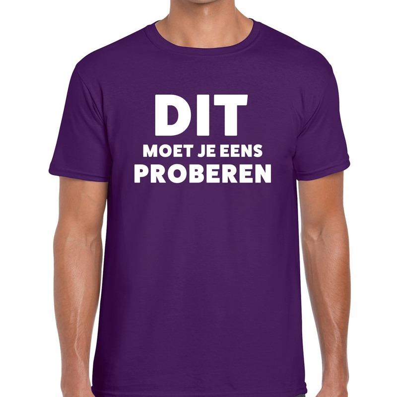 Dit moet je eens proberen beurs-evenementen t-shirt paars heren