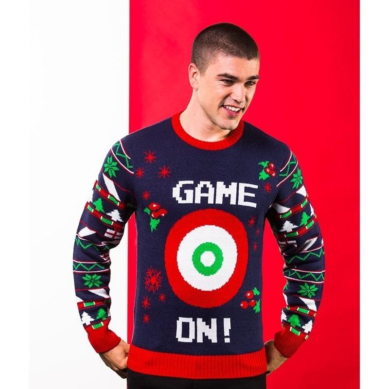 Donkerblauwe kerst trui Game On voor heren