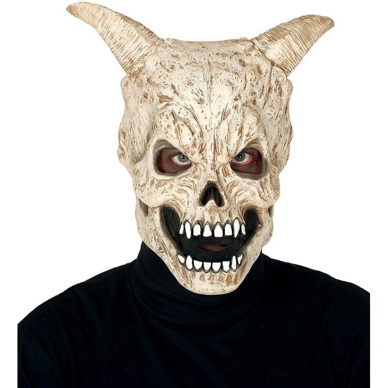 Duivel schedel met hoorns horror masker van latex