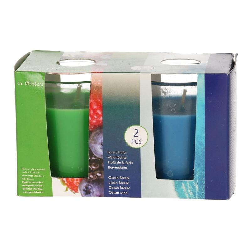 Duo geurkaarsen forest fruits en ocean breeze in glas
