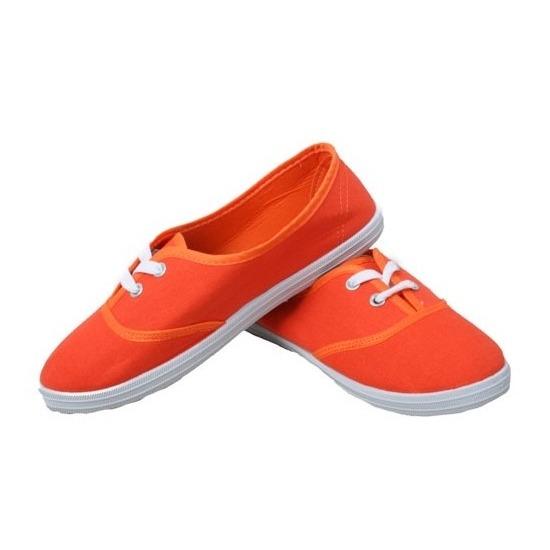 Feest oranje sneakers-schoenen voor dames accessoires