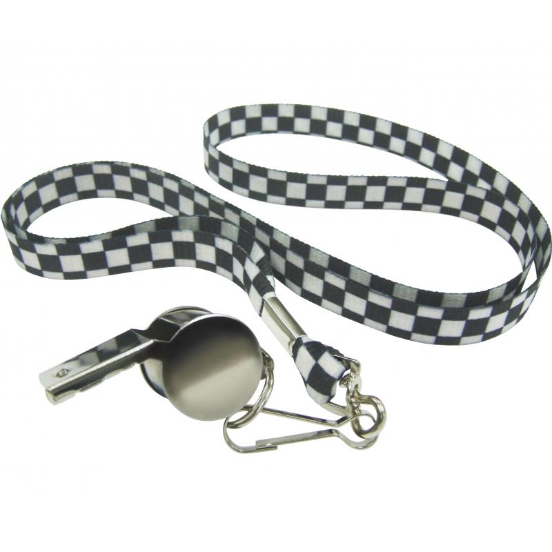 Fluitje aan zwart/witte lanyard ketting. zilverkleurig fluitje aan een zwart met wit geblokt lint.