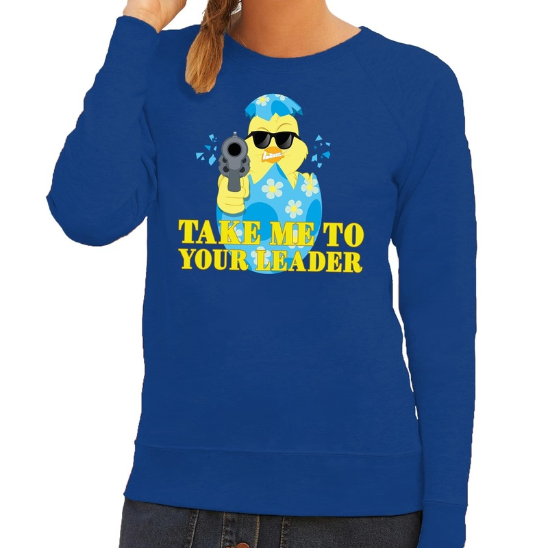 Fout paas sweater blauw take me to your leader voor dames