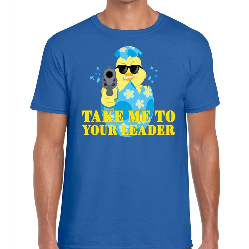 Fout paas t-shirt blauw take me to your leader voor heren
