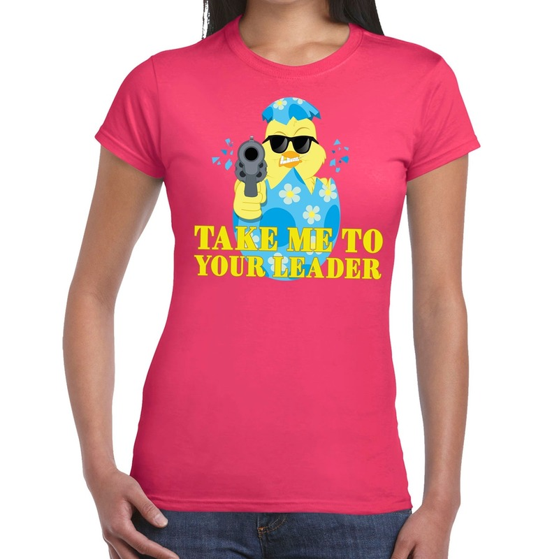 Fout paas t-shirt roze take me to your leader voor dames