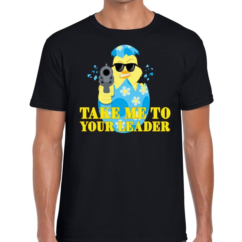 Fout paas t-shirt zwart take me to your leader voor heren