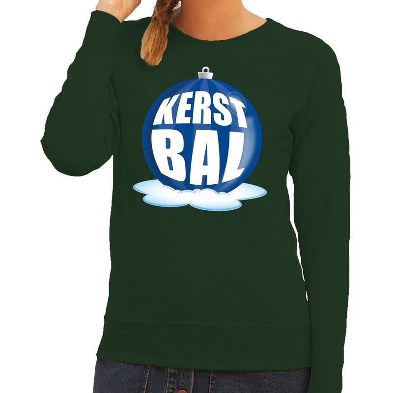 Kersttrui Uitverkoop.Foute Kersttrui Kerstbal Blauw Op Groene Sweater Voor Dames Grote
