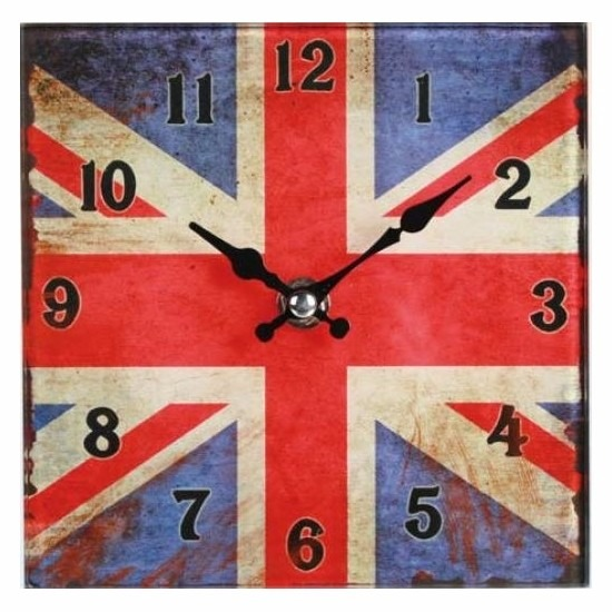 Glazen Union Jack klokje 15 cm