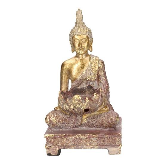Goud boeddha beeldje met waxine-theelicht houder 18 cm