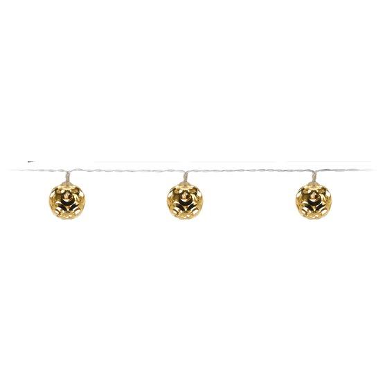 Gouden kerstverlichting LED ballen aan snoer 130 cm