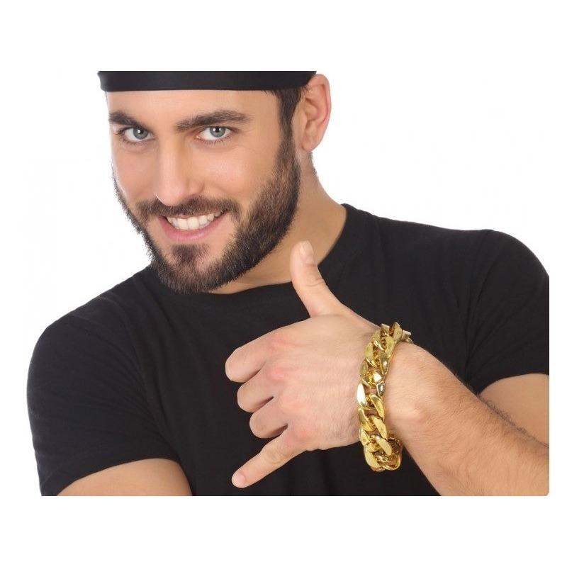 Gouden schakelarmband hiphop-rapper verkleed accessoire