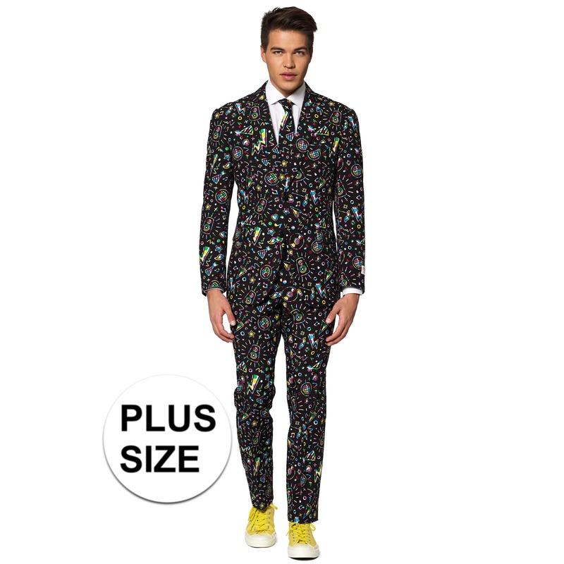 Grote maten heren verkleed pak-kostuum disco print