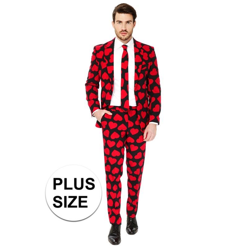 Grote maten heren verkleed pak-kostuum rode hartjes print